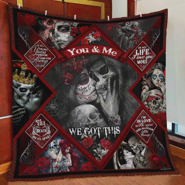 Skull Husband And Wife I'm In Love With You And All Your Little Things Quilt Blanket Great Customized Blanket Gifts For Birthday Christmas Thanksgiving