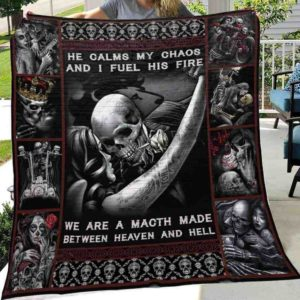 Skull Husband And Wife He Calms My Chaos Quilt Blanket Great Customized Gifts For Birthday Christmas Thanksgiving Wedding Valentine's Day