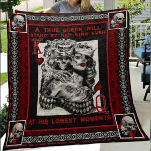 Skull Husband And Wife At His Lowest Moment Quilt Blanket Great Customized Gifts For Birthday Christmas Thanksgiving Wedding Valentine's Day