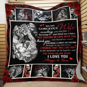 Personalized Skull To My Wife From Husband I Love You Always And Forever Quilt Blanket Great Customized Gifts For Birthday Christmas Thanksgiving Wedding Valentine's Day