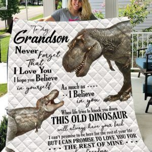 Personalized Dinosaur To My Grandson From Grandma Never Forget That I Love You Quilt Blanket Great Customized Gifts For Birthday Christmas Thanksgiving