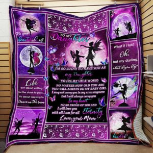 Personalized To My Daughter Quilt Blanket From Mom I'm So Lucky To Have You As My Daughter Great Customized Blanket Gifts For Birthday Christmas Thanksgiving