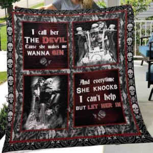 Skull Husband And Wife I Call Her The Devil Cause She Makes Me Wanna Sin Quilt Blanket Great Customized Blanket Gifts For Birthday Christmas Thanksgiving