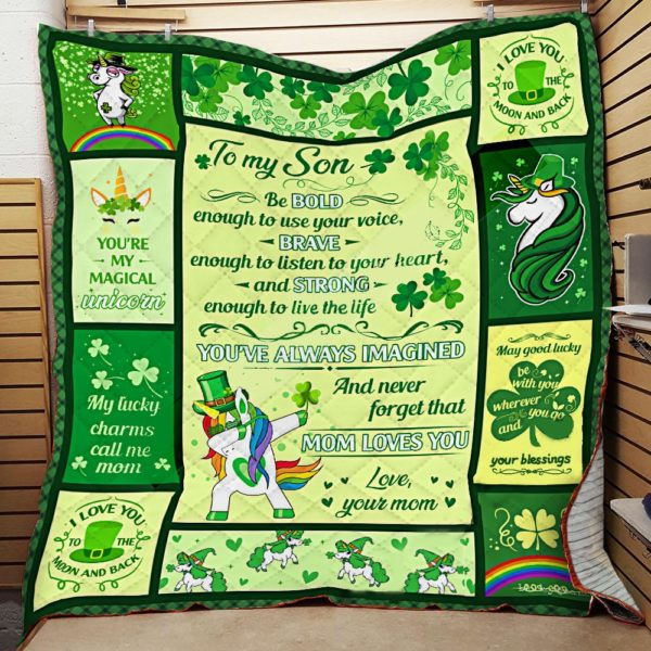 Personalized Unicorn St. Patrick's Day Irish To My Son Quilt Blanket From Mom You've Always Imagined And Never Forget That Mom Loves You Great Customized Blanket Gifts For Birthday Christmas Thanksgiving