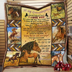 Personalized Horse To My Granddaughter From Grandma Never Forget That I Love You Quilt Blanket Great Customized Gifts For Birthday Christmas Thanksgiving