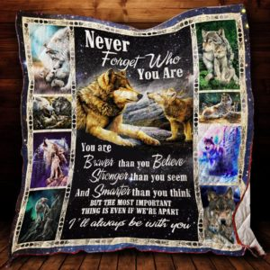 Wolf Family Gift To Son Daughter From Mom Dad I Will Always Be With You Quilt Blanket Great Customized Gifts For Birthday Christmas Thanksgiving