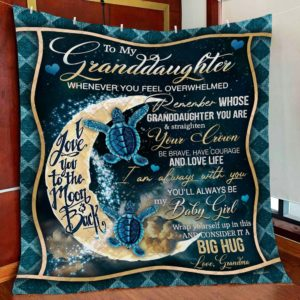 Personalized Turtle To My Granddaughter From Grandma I Am Always With You Quilt Blanket Great Customized Gifts For Birthday Christmas Thanksgiving