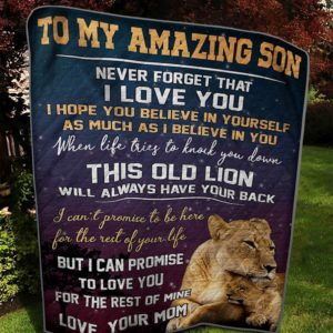 Personalized Lion To My Son From Mom Never Forget That I Love You Quilt Blanket Great Customized Gifts For Birthday Christmas Thanksgiving