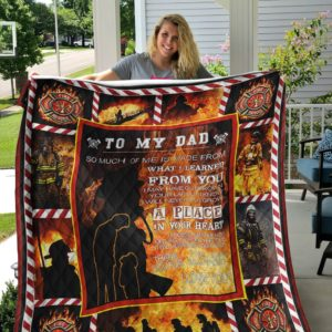 Personalized Firefighter To My Dad From Son Thank You For The Love And Support Quilt Blanket Great Customized Gifts For Birthday Christmas Thanksgiving Father's Day