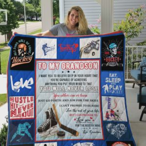 Personalized Ice Hockey To My Grandson Quilt Blanket From Grandma You Will Never Lose You Either Win Or Learn Great Customized Blanket Gifts For Birthday Christmas Thanksgiving