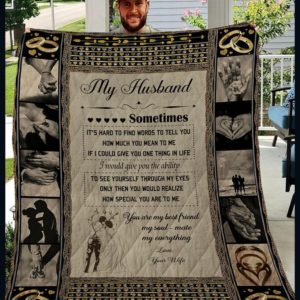 Personalized To My Husband From Wife It's Hard To Find Words Quilt Blanket Great Customized Gifts For Birthday Christmas Thanksgiving Wedding Valentine's Day