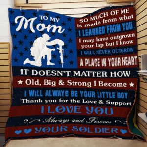 Personalized Soldier To My Mom From Son I Love You Always And Forever Quilt Blanket Great Customized Gifts For Birthday Christmas Thanksgiving Mother's Day