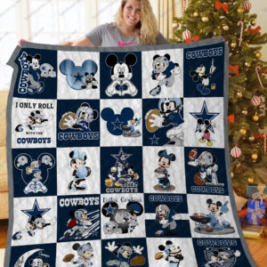 Dallas Cowboys Mickey Mouse Quilt Blanket Great Customized Blanket Gifts For Birthday Christmas Thanksgiving