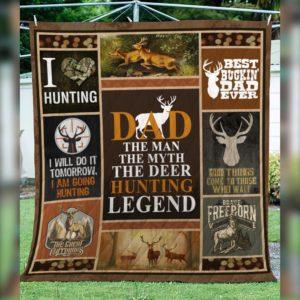 Hunting Dad The Mam The Myth The Deer Hunting Legend Quilt Blanket Great Customized Gifts For Birthday Christmas Thanksgiving Father's Day