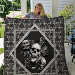 Skull Pattern Quilt Blanket Great Customized Gifts For Birthday Christmas Thanksgiving Perfect Gifts For Skull Lover