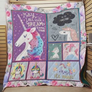 Unicorn May All Your Dream Come True Quilt Blanket Great Customized Blanket Gifts For Birthday Christmas Thanksgiving