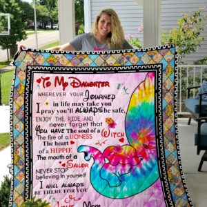 Personalized Tie Dye Elephant To My Daughter From Mom I Pray You'll Always Be Safe Quilt Blanket Great Customized Gifts For Birthday Christmas Thanksgiving Perfect Gifts For Elephant Lover