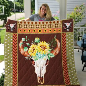 Hunting Skull Wearing Sunflower Quilt Blanket Great Customized Gifts For Birthday Christmas Thanksgiving Perfect Gifts For Sunflower Lover