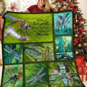 When A Dragonfly Appears In Your Yard It's A Visitor From Heaven Quilt Blanket Great Customized Blanket Gifts For Birthday Christmas Thanksgiving