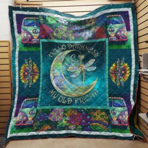 Dragonfly Hippie Hello Darkness My Old Friend Quilt Blanket Great Customized Blanket Gifts For Birthday Christmas Thanksgiving