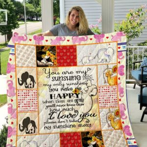 Elephant You Are My Sunshine My Only Sunshine Quilt Blanket Great Customized Blanket Gifts For Birthday Christmas Thanksgiving
