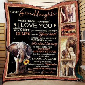 Personalized Elephant To My Granddaughter Quilt Blanket From Grandma I'll Always Be With You Great Customized Blanket Gifts For Birthday Christmas Thanksgiving