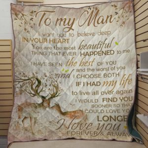 Personalized Deer To My Man Quilt Blanket I Love You Forever And Always Great Customized Blanket Gifts For Birthday Christmas Thanksgiving