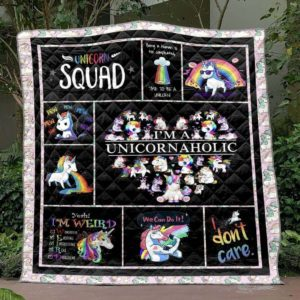 I'm A Unicornaholic Quilt Blanket Great Customized Blanket Gifts For Birthday Christmas Thanksgiving