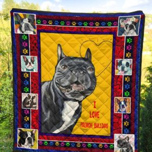 I Love French Bulldog Quilt Blanket Great Customized Blanket Gifts For Birthday Christmas Thanksgiving