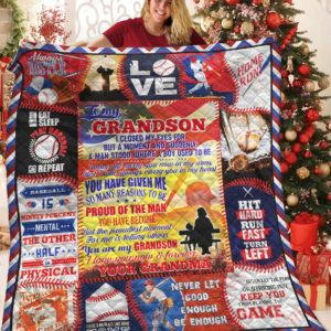 Personalized Baseball To My Grandson Quilt Blanket Hit Hard Run Fast Turn Left Great Customized Blanket Gifts For Birthday Christmas Thanksgiving