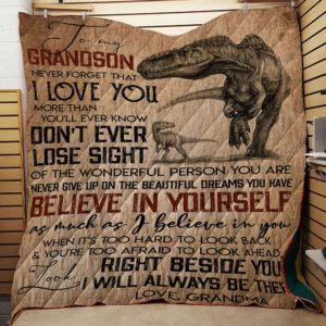 Personalized Dinosaur To My Grandson Quilt Blanket From Grandma I Will Always Be There Great Customized Blanket Gifts For Birthday Christmas Thanksgiving