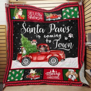 Red Truck Shih Tzu Christmas Santa Paws Is Coming To Town Quilt Blanket Great Customized Blanket Gifts For Birthday Christmas Thanksgiving
