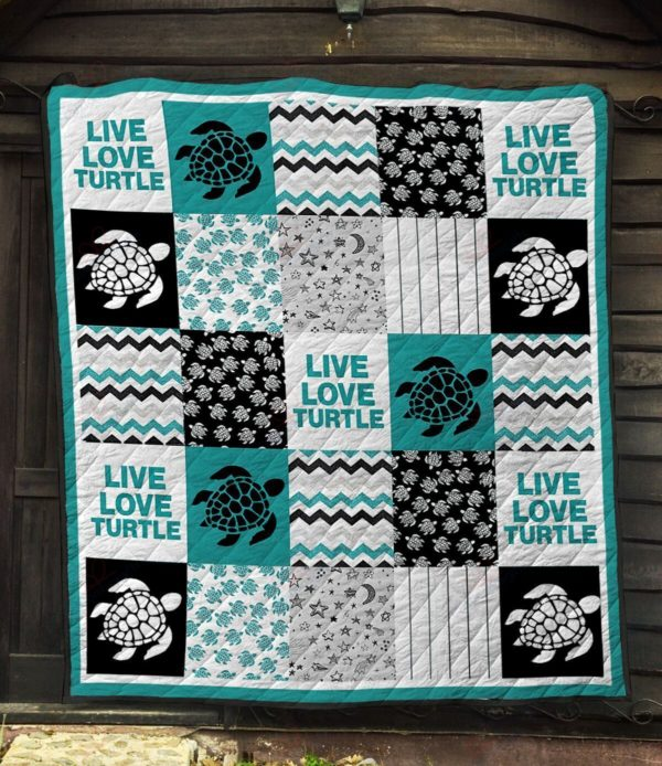 Live Love Turtle Quilt BlanketTurtle Live Love Turtle Quilt Blanket Great Customized Blanket Gifts For Birthday Christmas Thanksgiving