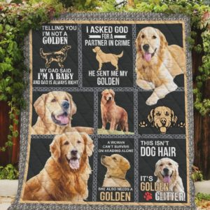 Golden Retriever This Isn't Dog Hair It's Golden Glitter Quilt Blanket Great Customized Blanket Gifts For Birthday Christmas Thanksgiving