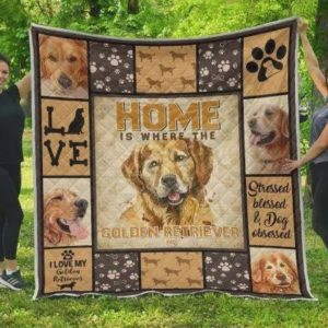 Home Is Where The Golden Retriever Is Quilt Blanket Great Customized Blanket Gifts For Birthday Christmas Thanksgiving