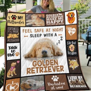 Feel Safe At Night Sleep With A Golden Retriever Quilt Blanket Great Customized Blanket Gifts For Birthday Christmas Thanksgiving