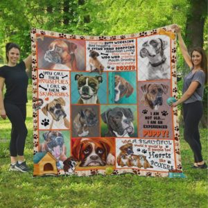 Boxer I'm Not Old I'm An Experienced Puppy Quilt Blanket Great Customized Blanket Gifts For Birthday Christmas Thanksgiving