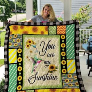 Hummingbird Sunflower You Are My Sunshine Quilt Blanket Great Customized Blanket Gifts For Birthday Christmas Thanksgiving