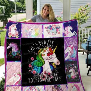 Unicorn She's Beauty She's Grace She'll Kick You In The Face Quilt Blanket Great Customized Blanket Gifts For Birthday Christmas Thanksgiving