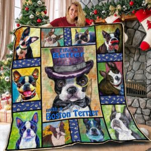 Life Is Better With Boston Terrier Quilt Blanket Great Customized Blanket Gifts For Birthday Christmas Thanksgiving