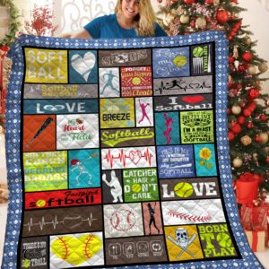 Softball Catcher Hair Don't Care Quilt Blanket Great Customized Blanket Gifts For Birthday Christmas Thanksgiving
