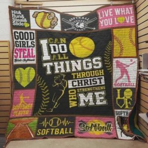 Softball I Can Do All Things Through Christ Who Strengthens Me Quilt Blanket Great Customized Blanket Gifts For Birthday Christmas Thanksgiving