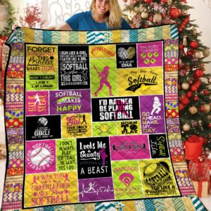 I'd Rather Be Playing Softball Quilt Blanket Great Customized Blanket Gifts For Birthday Christmas Thanksgiving
