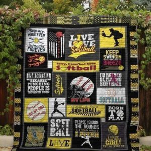 Live Love Softball Quilt Blanket Great Customized Blanket Gifts For Birthday Christmas Thanksgiving