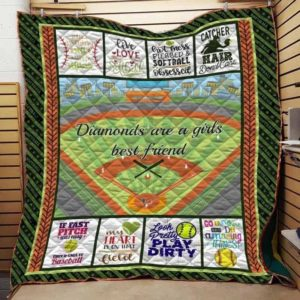 Softball My Heart Is On That Field Quilt Blanket Great Customized Blanket Gifts For Birthday Christmas Thanksgiving