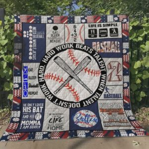 Baseball Hard Work Beats Talent When Talent Doesn't Work Hard Quilt Blanket Great Customized Blanket Gifts For Birthday Christmas Thanksgiving