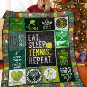 Eat Sleep Tennis Repeat Quilt Blanket Great Customized Blanket Gifts For Birthday Christmas Thanksgiving