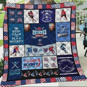Keep Calm And Play Ice Hockey Quilt Blanket Great Customized Blanket Gifts For Birthday Christmas Thanksgiving