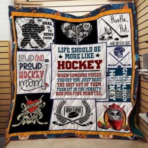 Life Should Be More Like Hockey Quilt Blanket Great Customized Blanket Gifts For Birthday Christmas Thanksgiving
