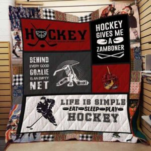 Life Is Simple Eat Sleep Play Hockey Quilt Blanket Great Customized Blanket Gifts For Birthday Christmas Thanksgiving